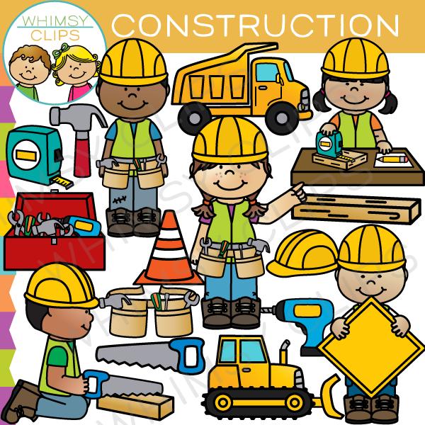 Kids clip art images. Child clipart construction