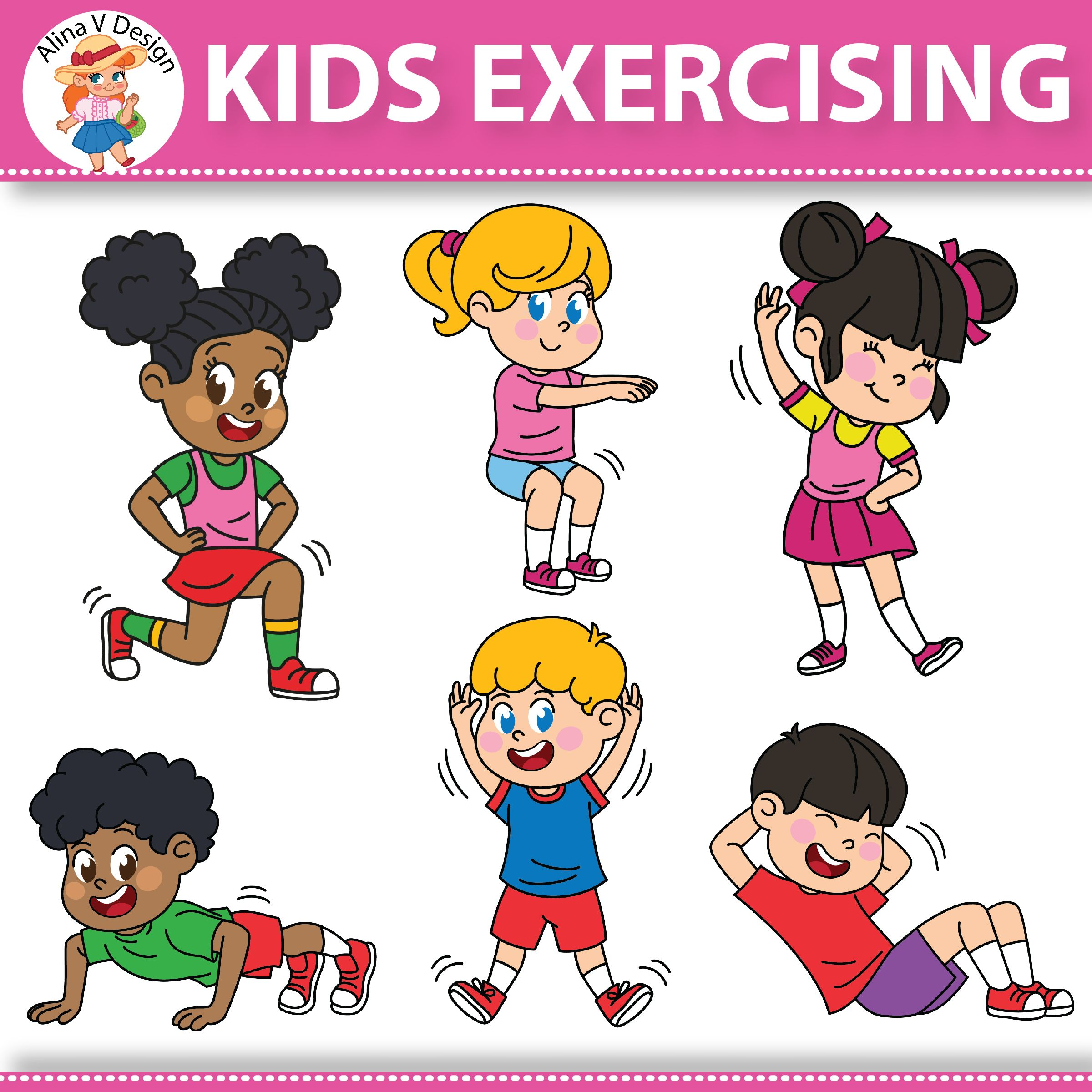 Pin on photos . Clipart children exercise