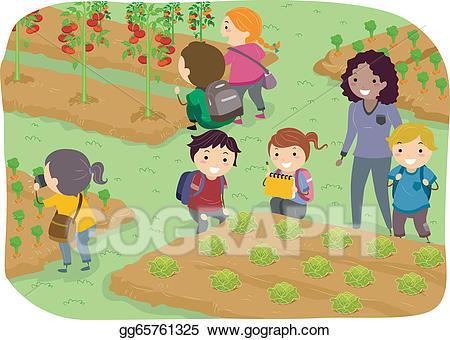 Children clipart garden. Vector stock stickman kids