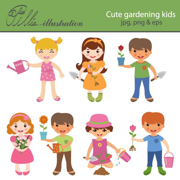 collection of kids. Children clipart garden