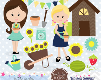 Children clipart garden. Etsy instant download clip