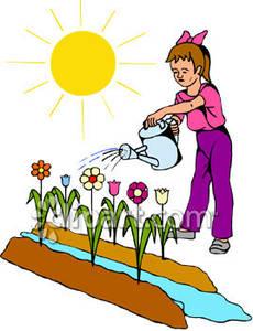 Children clipart garden. Child watering a flower