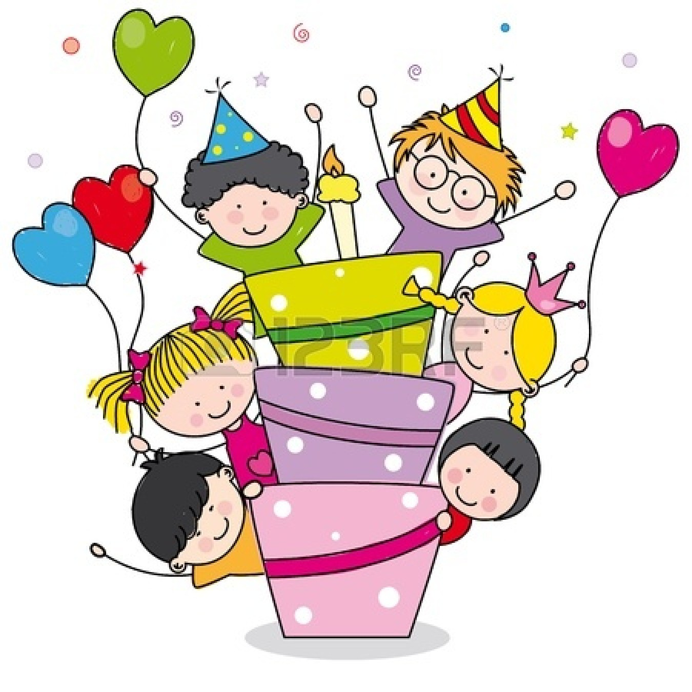 Kids party clip art. Surprise clipart birthday celebration