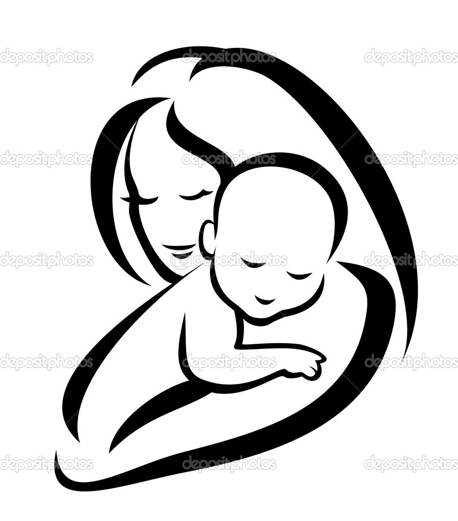 Silhouette of and child. Mother clipart logo