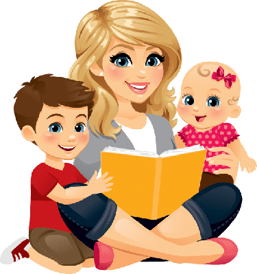 Mom reading with the. Children clipart mum