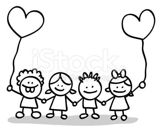 Child black and white. Children clipart outline