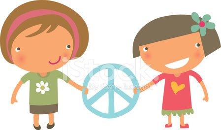 Kids holding symbol stock. Peace clipart child