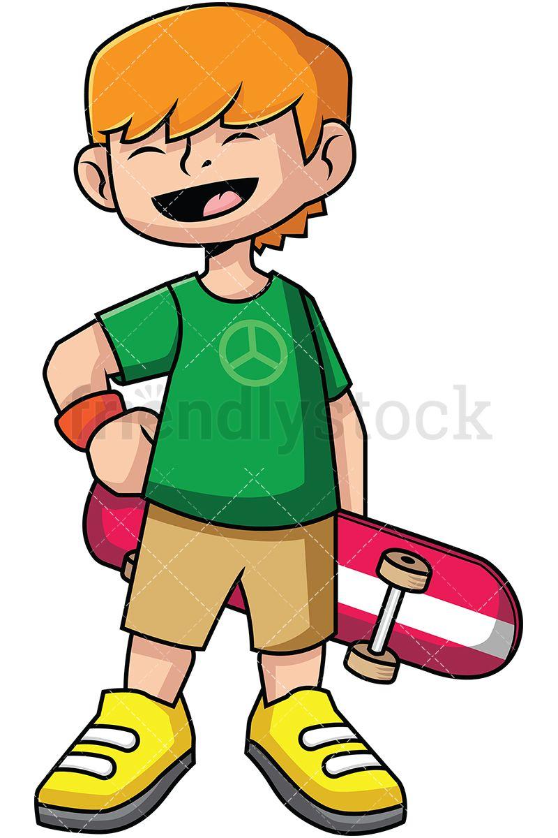 Kid skateboarder cartoon vector. Child clipart peace
