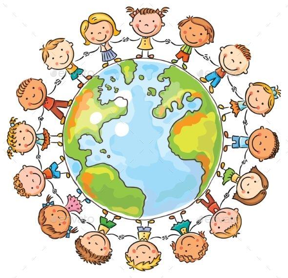 Happy cartoon children round. Peace clipart peace kid