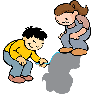 Here comes the sun. Children clipart shadow