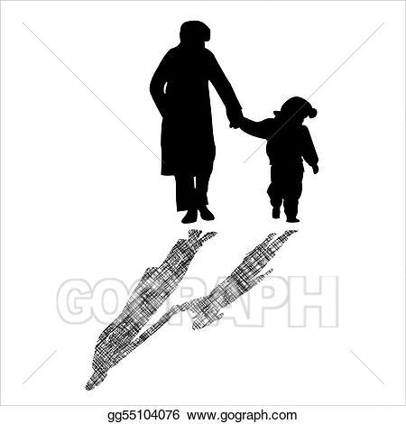 Woman and child silhouettes. Children clipart shadow