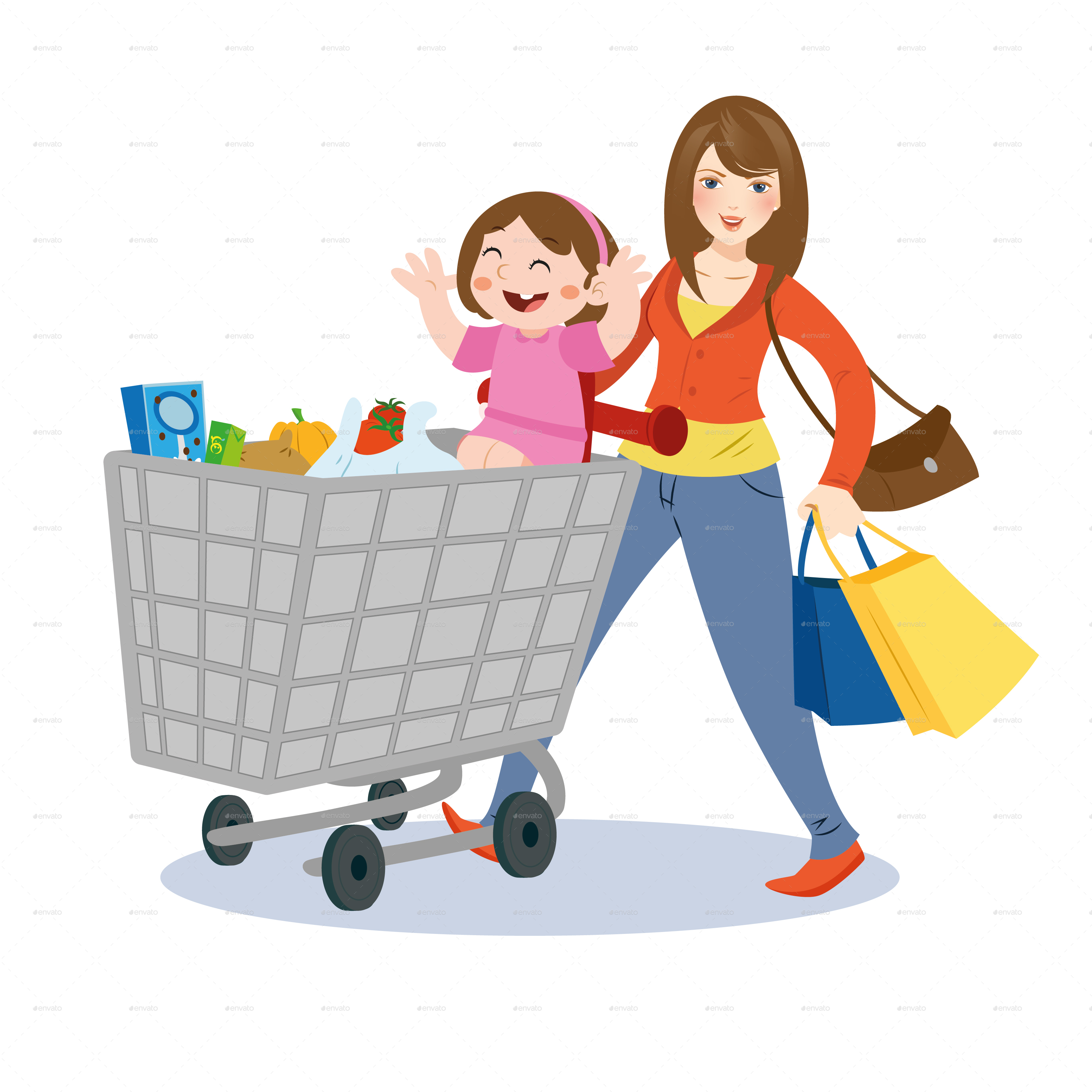 Children clipart shopping. Mom and child by