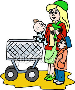 Children clipart shopping. Mother with a cart