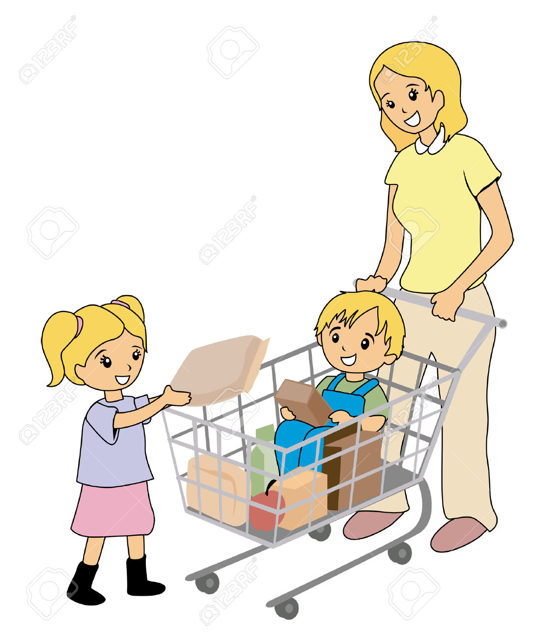 collection of kids. Children clipart shopping