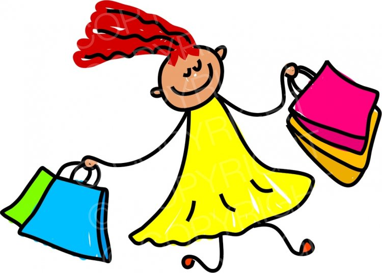 Happy cartoon spree girl. Children clipart shopping