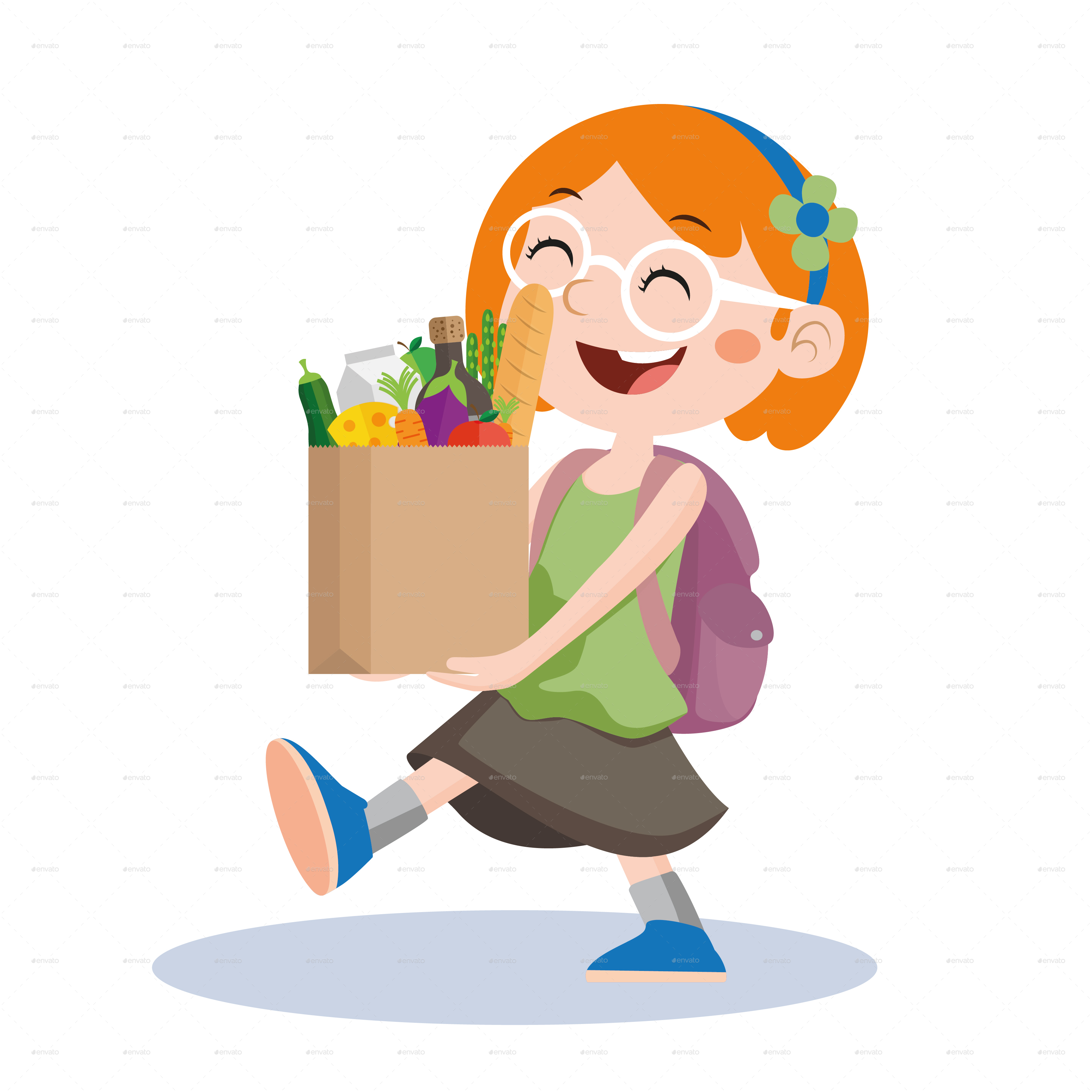 Kids by nael graphicriver. Children clipart shopping