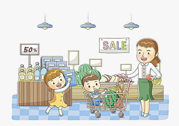 Mother and go mom. Children clipart shopping