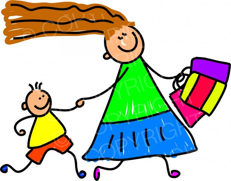 Happy cartoon with mum. Children clipart shopping