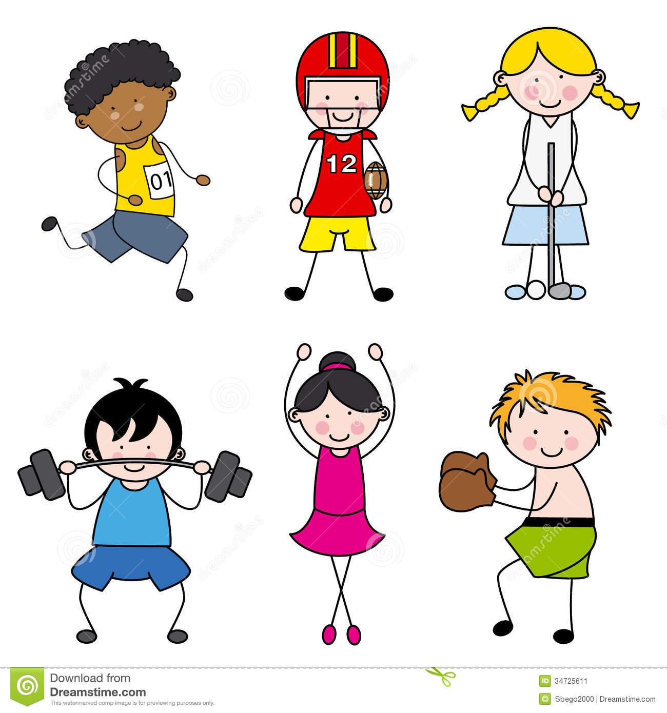 collection of kids. Children clipart sport