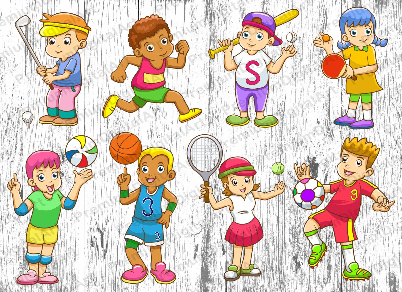 Children clipart sport.  cartoon kids