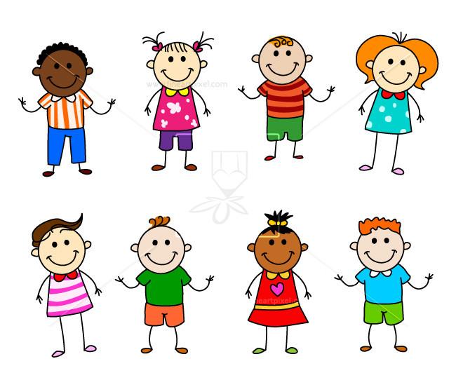 Kids character free vectors. Children clipart stick figure
