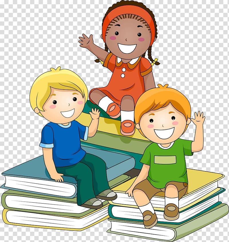 Goodbye clipart kindergarten. Three children sitting on