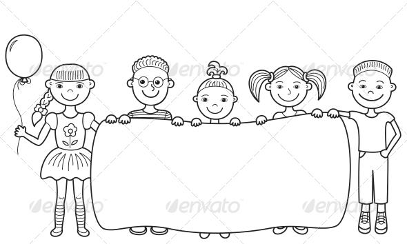 Cartoon holding empty by. Children clipart banner