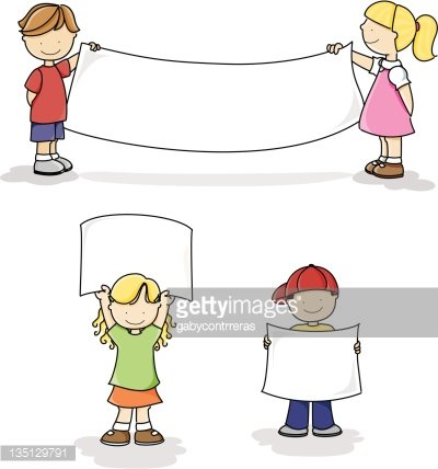 Children clipart banner. Holding white signs and
