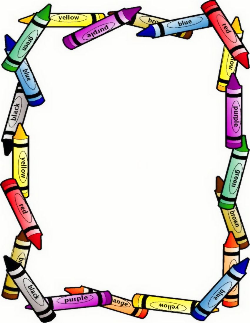 Education boarders crayon border. Crayons clipart picture frame