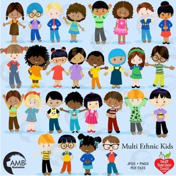 Children clipart classroom. Multicultural kids reading amb