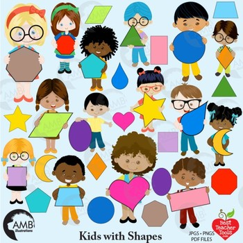 Children clipart classroom. Multicultural kids with geometric