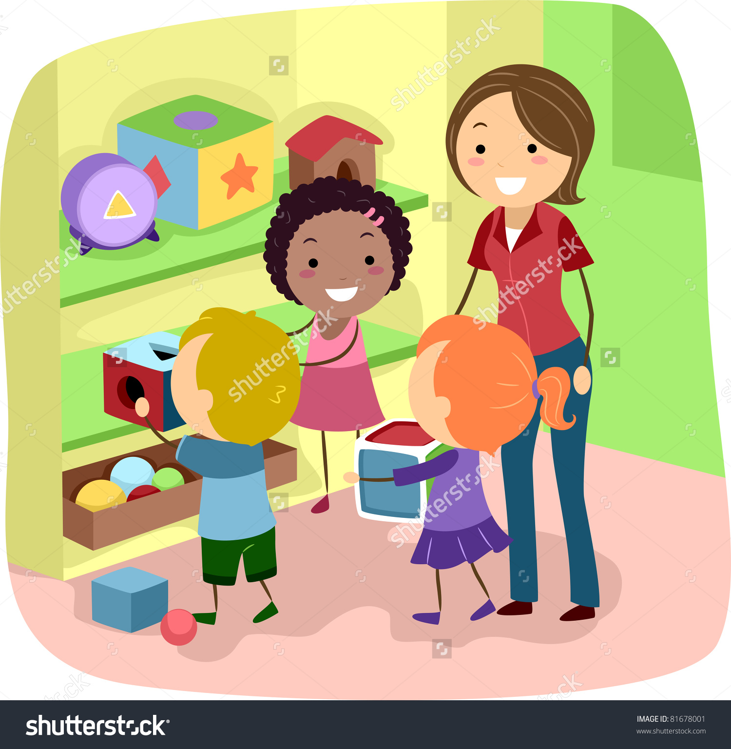Cleaning station . Children clipart classroom