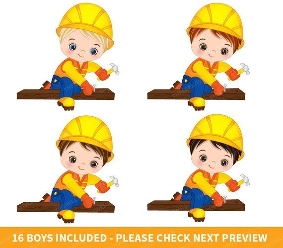 Construction boys vector . Contractor clipart boy