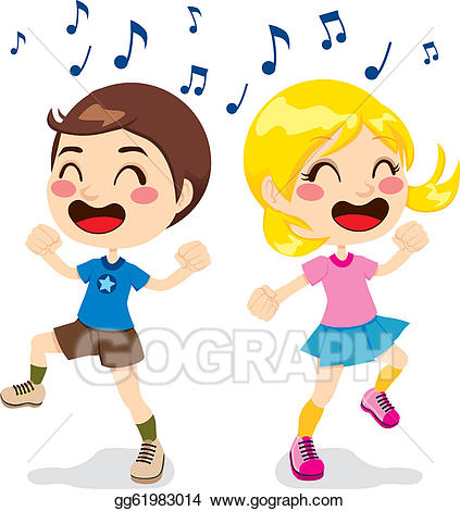Vector illustration children dancing. Dance clipart