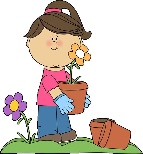 Clip art images girl. Children clipart garden