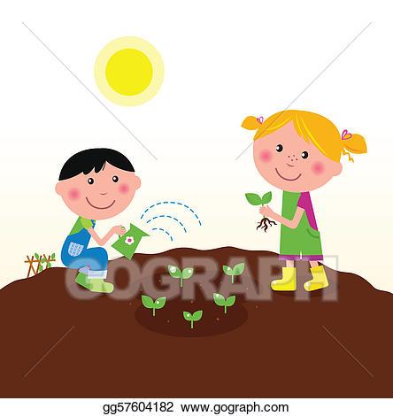 Children clipart garden. Vector stock planting plants