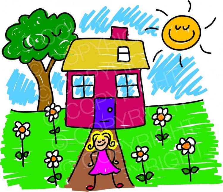 Happy cartoon girls house. Children clipart garden