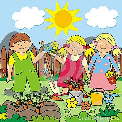 Children clipart garden. Illustration of kids gardening