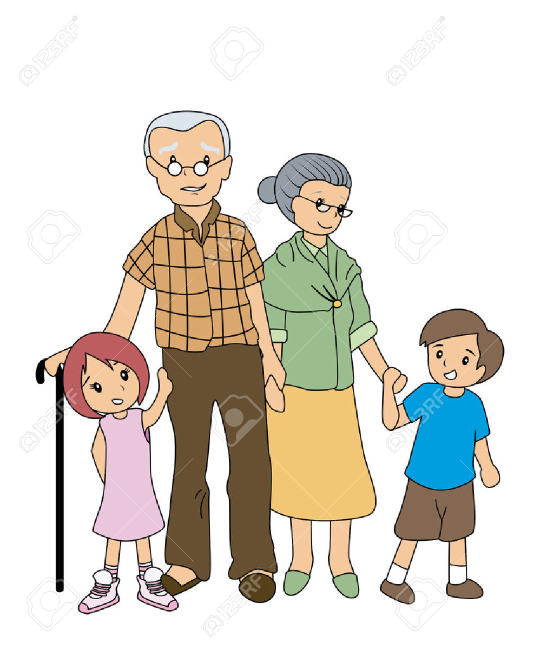 Grandparents clipart. Grandfather and grandmother station