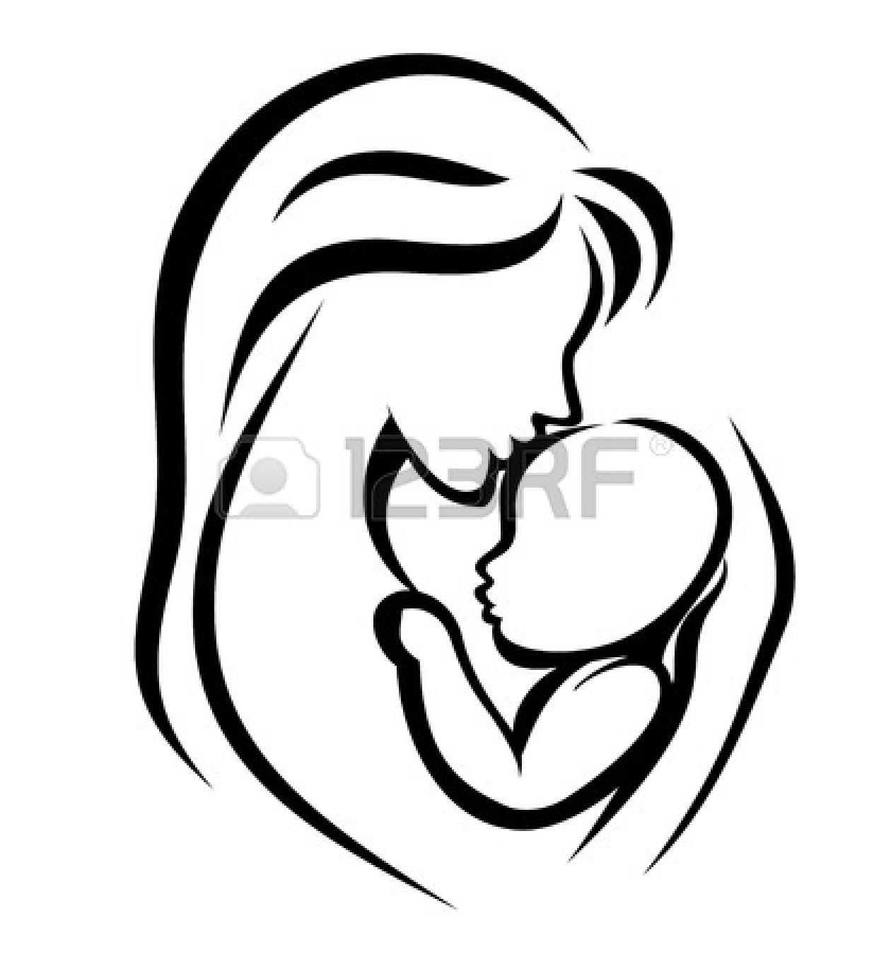 Mother child silhouette at. Children clipart mum