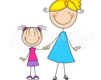 Mom and art etsy. Children clipart mum
