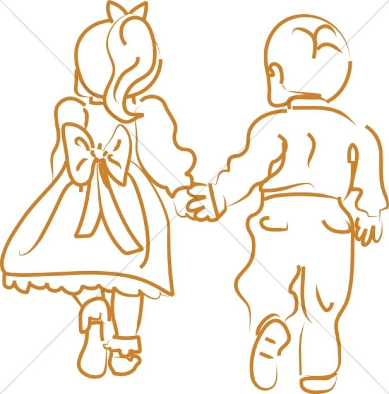First love christian. Children clipart outline