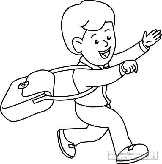 Children clipart outline. Student running black white