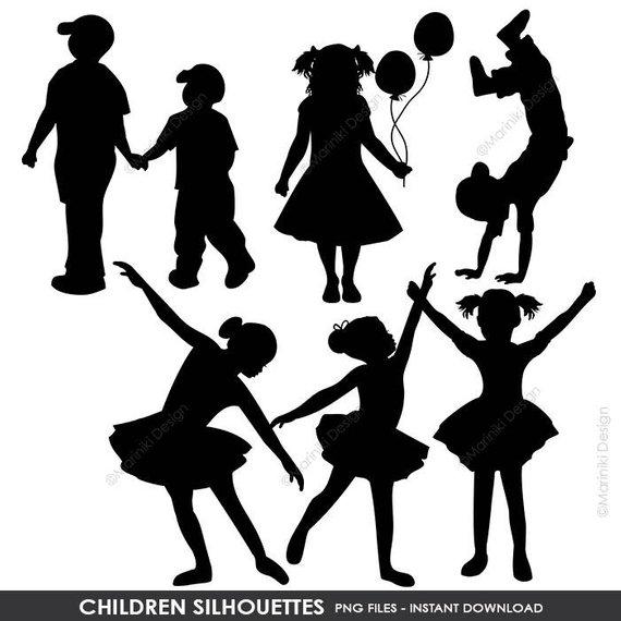 Silhouettes clip art boy. Children clipart shadow
