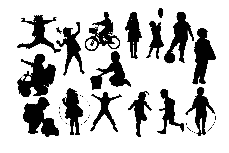 Children clipart shadow. Silhouette kids child svg