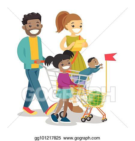 Vector art young multicultural. Children clipart shopping