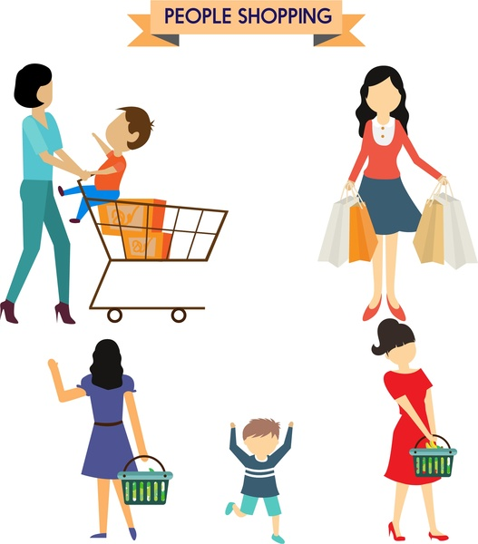 Children clipart shopping. People concepts woman and