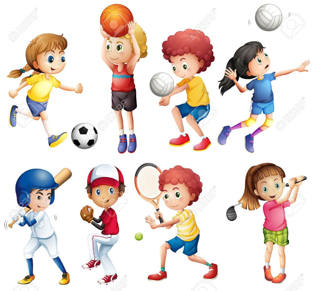 Children clipart sport. Illustrazione di molti bambini