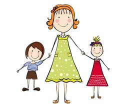 Mom and son figures. Children clipart stick figure