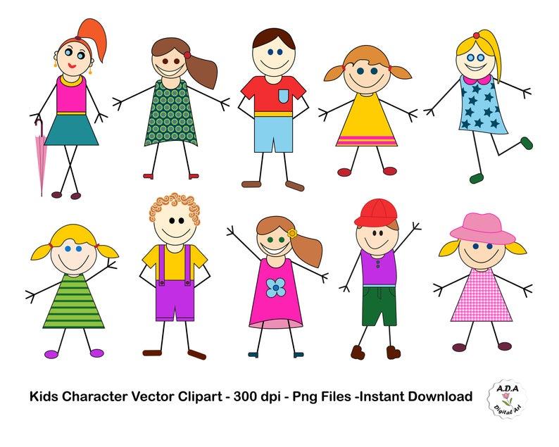 Kid character clip art. Children clipart stick figure